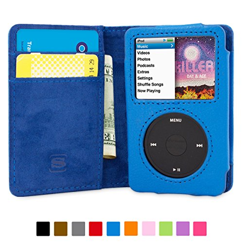 Snugg™ iPod Classic Flip Case & Lifetime Guarantee (Blue Leather) for iPod Classic
