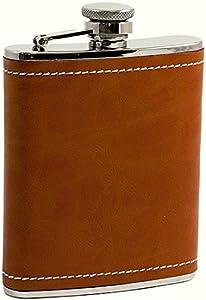 6 oz. Saddle Leather & White Stitch Flask