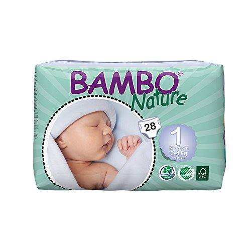 Bambo Nature Premium Baby Diapers, Soft Pink, Size 1, 1.72 Pound