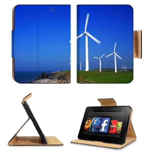 Ocean Windmills Generators Turbines Scenery Amazon Kindle Fire Hd 7 [2012 Version Only September 14, 2012] Flip Case Stand Magnetic Cover Open Ports Customized Made To Order Support Ready Premium Deluxe Pu Leather 7 11/16 Inch (195Mm) X 5 11/16 Inch (145M
