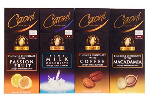 Gourmet Caoni Milk Chocolate Bars From Ecuador, 4 Flavor Variety Gift Assortment (Large - 85 Gram/3 Oz Bars) (Godiva Espresso Beans compare prices)