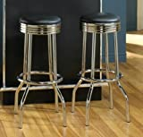 Set Of 2 Retro Style Chrome Plated Bar Stools By Coaster Furniture