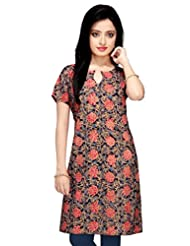 Black Floral Printed Cotton Kurta