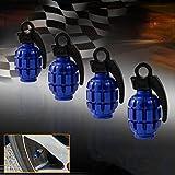 HAMIST Blue Grenade Bomb Wheel Valve Air Stem Cap Tire Dust Cover Car Bike Pack of 4 thumbnail