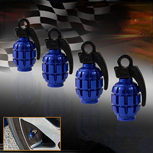 HAMIST Blue Grenade Bomb Wheel Valve Air Stem Cap Tire Dust Cover Car Bike Pack of 4 image