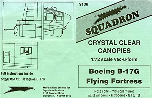 Squadron 1:72 Boeing B-17G Flying Fortress Crystal Clear Canopy Vacuform #9138**