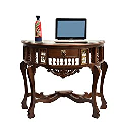 ExclusiveLane Teak Wood D Shaped Console Table With Dhokra And Warli Work-Utility Table, Coffee Table , End Tables Furniture ,