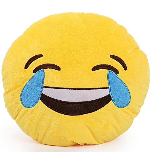 1 X Round Oi Emoji Smiley Emoticon Cushion Pillow Stuffed Plush Toy Doll Yellow(tears of Happiness+free Transformers Key Chain)