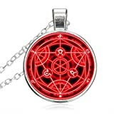 Full Metal Alchemist Red Transmutation Circle Necklace pendant Glass Dome Pendant Jewelry