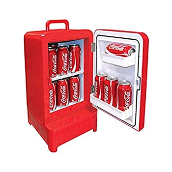 Personal Beverage Cooler Coca Cola Inspired 10-Can Retro Vending Fridge Beverage Cooler