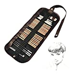 iBayam 18 Pieces Pen Charcoal Sketch Set Sketching Pencil Set of Pencils Eraser Craft Knife Pencil Extender Roll up Canvas Carry Pouch Pro Art Supply for Beginners Artist