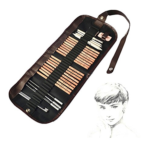 iBayam 18 Pieces Pen Charcoal Sketch Set Sketching Pencil Set of Pencils Eraser Craft Knife Pencil Extender Roll up Canvas