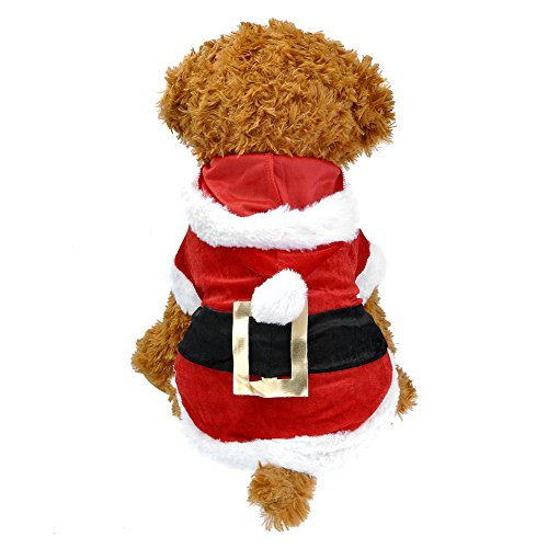 Yoption Pet Puppy Dog Christmas Clothes Santa Claus Costume Outwear Coat Apparel Hoodie (S)