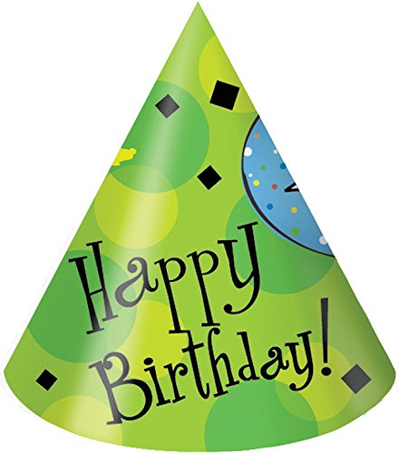 Creative Converting 8 Count Cake Celebration Party Hats, Adult Size, Green