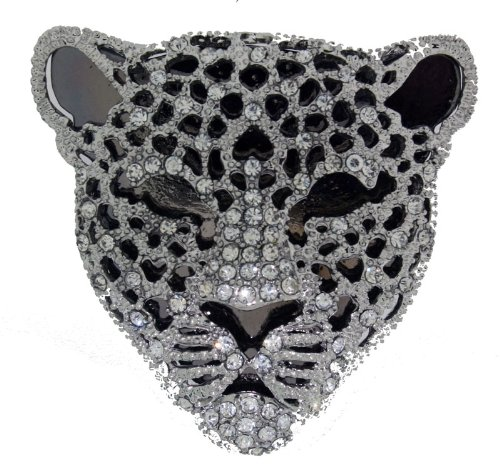 Polished Silver Colour Metal Leopard Brooch With Clear Crystals