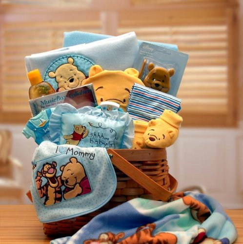 Winnie the Pooh Blue New Baby Basket