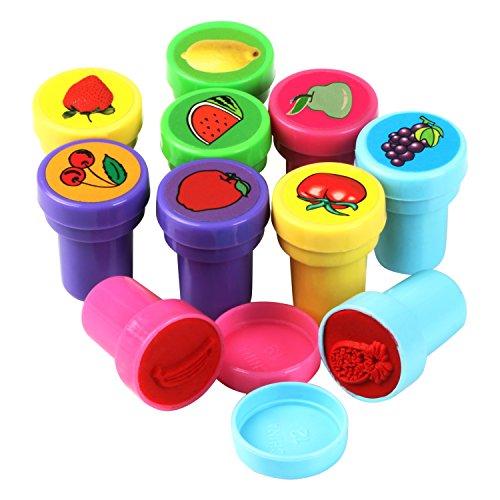 TRIXES Lot de 10 Jolis Tampons Fruits en Plastique Jeu Jouet Papier Amusement Artisanat