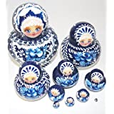 Unique Artist Signed Russian Hand Painted Nesting Dolls Set Of 10 Pcs Christmas Gift