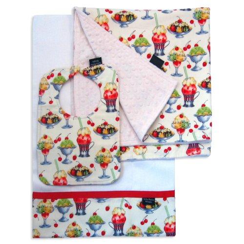 Ice Cream Social Bib, Burp Cloth And Receiving Blanket Set front-1066154