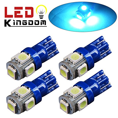 LEDKINGDOMUS 4x T10 Wedge 5050 5SMD LED license interior Ice Blue light 168 194 921 2825 (Ice Blue Motorcycle Lights compare prices)