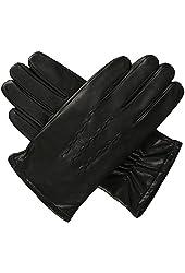 Luxury Lane Men's Cashmere Lined Lambskin Leather Gloves - Medium