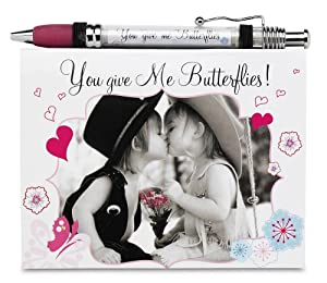 Candidly LOL by Pavilion You Give Me Butterflies Notepad and Banner Pen Set, 5-1/2 by 4-1/4-Inch