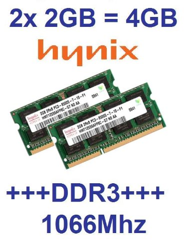 Dual Channel Kit: 2 x 2 GB = 4GB HYNIX 204 pin DDR3-1066 SODIMM (1066Mhz, PC2-8500, CL7) 128Mx8x16 double side, 2 x HMT125S6AFP8C-G7 f&#252;r DDR3-NOTEBOOKs, MacBook, MacBook Pro, iMac, mac mini (2009 Versionen)