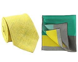 Chokore Lemon Linen Tie & Silk Pocket Square