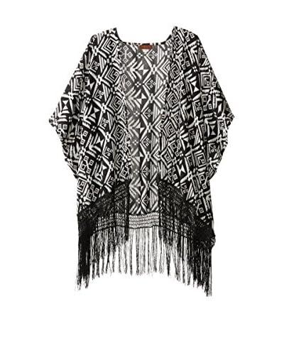 Evelyn K Women's Print Kimono, Black