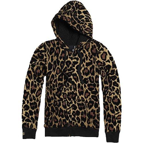 Fox Racing Cheater Sherpa Lined Girls Hoody Zip Casual Sweatshirt - Color: Sand, Size: X-Large