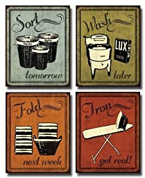 Laundry Set - mini Mini Prints, Vintage, Signs Art Print Poster by N Harbick, 8 x 10
