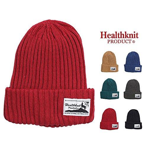 Healthknit ヘルスニット ニット リブワッチ キャップ 綿 コットン カジュアル ニット帽 男女兼用 ブルー