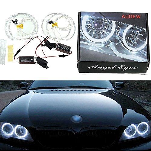 AUDEW-4-x-Angel-Eyes-Standlicht-Scheinwerfer-Xenon-Lampe-Auto-Halo-Ring-fr-BMW-E36-E39-E46-Models-6500K-Wei