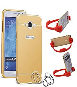 Aart Luxury Metal Bumper + Acrylic Mirror Back Cover Case For Samsung J2 Gold+ Flexible Portable Mount Cradle Thumb OK Designed Stand Holder