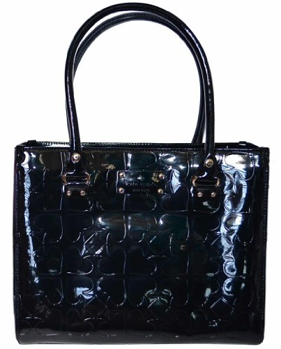 Cheap Kate Spade Black Patent Leather Quinn Tote Handbag - Embossed Ace of Spades Collection