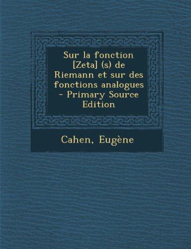 fonction zeta pdf