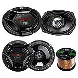 "Car Speaker Package Of 2x JVC CS-DR6930 6x9"" 1000 Watt 3-Way Vehicle Stereo Coaxial Speakers Bundle Combo With 2x CS-DR620 6.5"" 300W 2-Way Audio Speakers + Enrock 50 Foot 16 Guage Speaker Wire"