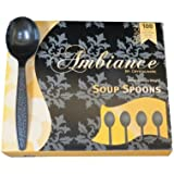 Heavy Weight Black Plastic Soup Spoons 100/box