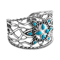 Kenneth Johnson Sterling Silver Sleeping Beauty Cuff Bracelet, Medium from Relios