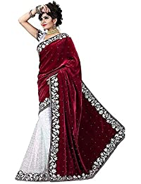 Tagline Women's Velvet & Net Saree With Blouse Piece (Tag50006_Red)