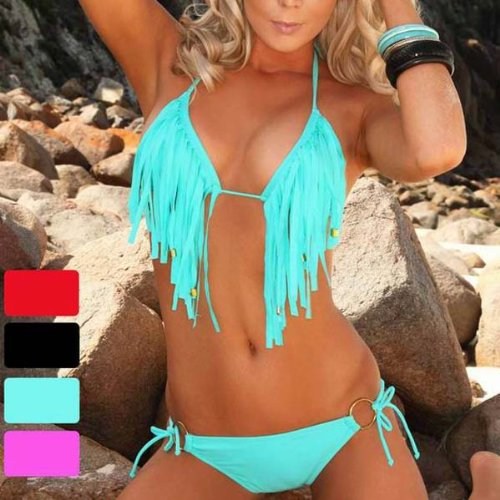 Zicac - 2013 TOUT Nouveau 2 pices Maillot De Bain Bikini Sexy Femme Avec Franges (Cyan, L)