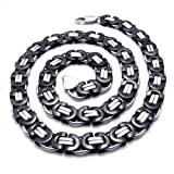 Konov Jewellery Stainless Steel Mens Necklace Link Chain, Colour Black Silver, Length 56cm 22 inch (with Gift Bag)