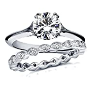 Vintage Moissanite and Diamond Bridal Ring Set 1 2/5 Carat (ctw) in 14k White Gold