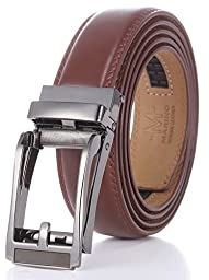 Marino Men\'s Genuine Leather Ratchet Dress Belt with Open Linxx Buckle, Enclosed in an Elegant Gift Box - Silver and Brown Open Buckle with Brown Leather - Custom: Up to 44\