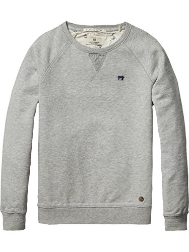 Scotch Shrunk Basic Garment Dyed Crew Neck Sweat, Felpa Bambino, Grau (Grey Melange 606), 128 cm