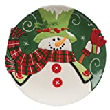 Fitz and Floyd Holly Hat Snowman Canape Plate