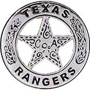 Texas Rangers Badge Pin Nickel 1""