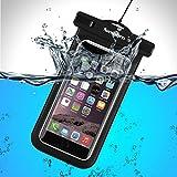 防水ケースSaxhorn 防水携帯ケース 防水保護等級IPX8 スマホ防水ケース  防水カバー TPU素材 ナノメートル加工隙なし ネックストラップ アームバンド付属 iPhone7/iPhone7plus/iPhone 6S/6 Plus/6/ Samsung Galaxy/Nexus/Sony/Sharpなど6インチ以下機種対応 (ブラック)