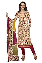PShopee Maroon Cotton Printed Unstitched Salwar Suit Dress Material