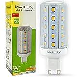 MAILUX G9N11103 LED Energiesparlampe   Kolben   G9   4 Watt   klar   390lm   360� Abstrahlwinkel   warmweiss 2700 K   ersetzt 35 Watt   1er Pack